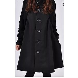 Black Sweater Sleeve Swing Coat
